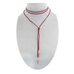 Jewelry - NWOT Burgundy wine 🍷 corded necklace